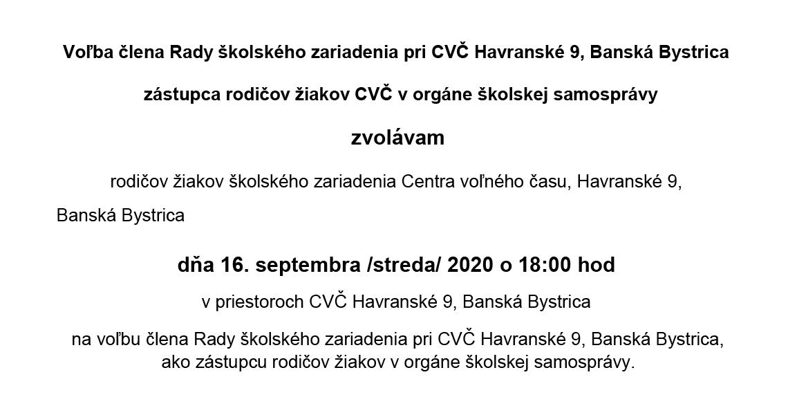 Volba clena rady CVC 2020 banner